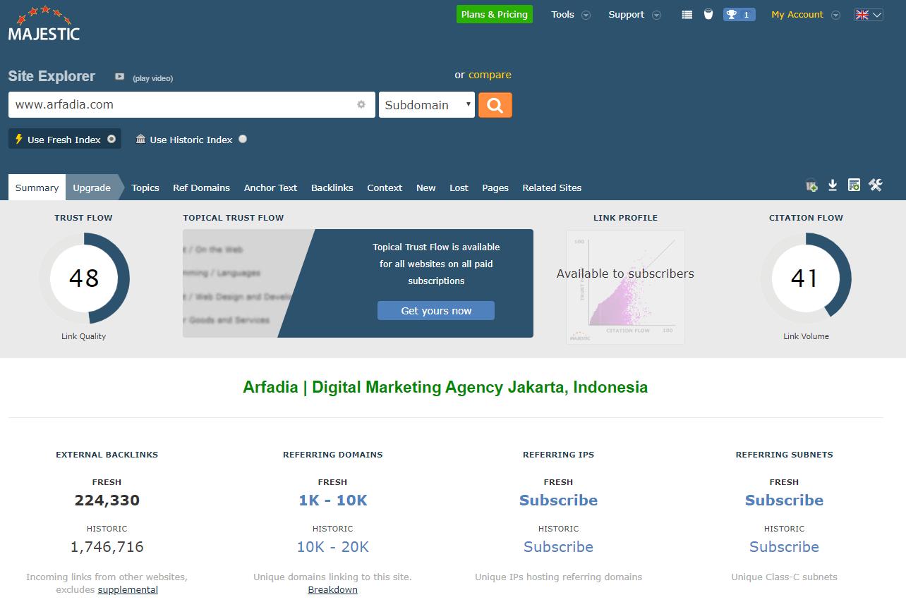 Tampilan Majestic untuk Website Arfadia.com
