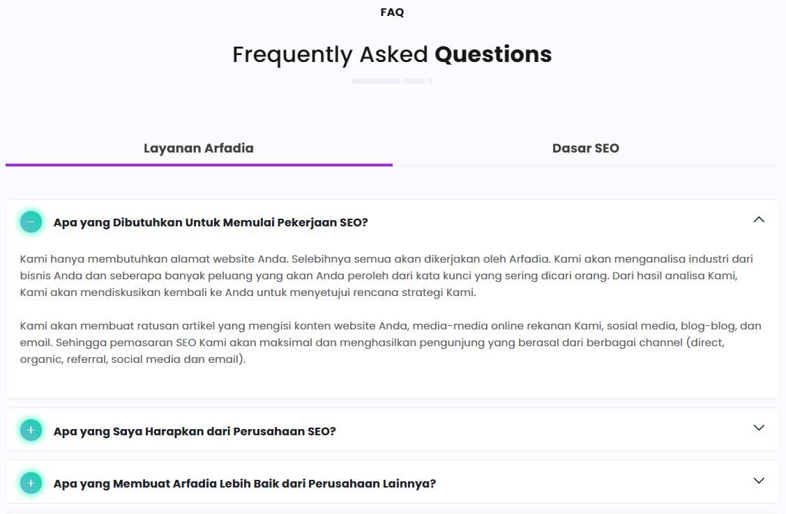 Contoh Halaman FAQ
